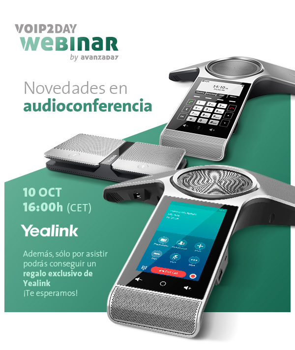 Imagen: VoIP2DAY Webinar: New audio conferencing Yealink | Tuesday 10 OCT at 16:00 (CET)