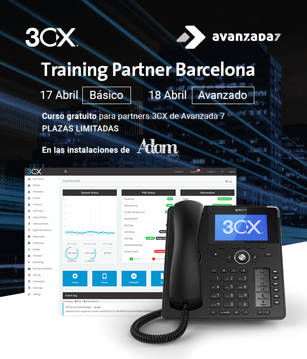 Imagen: 3CX Training Partner Barcelona | 17 y 18 Abril