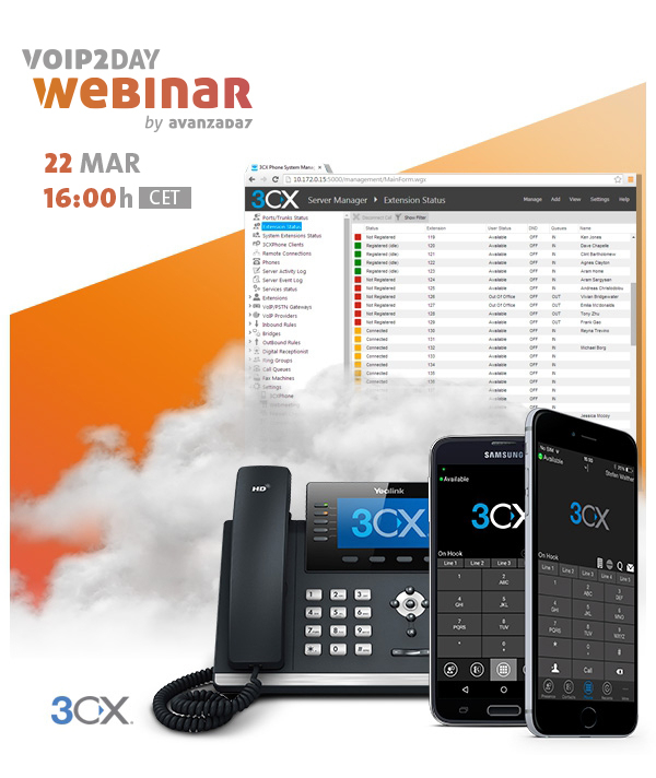 Imagen: Webinar 3CX | 22 MARZO a las 16:00 (CET)