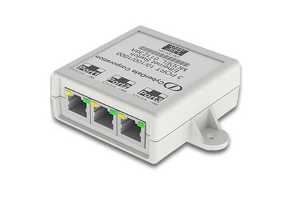 Switch de Cyberdata 011236 con 3 puertos gigabit y con puerto USB para carga sin necesidad de fuente de alimentación externa