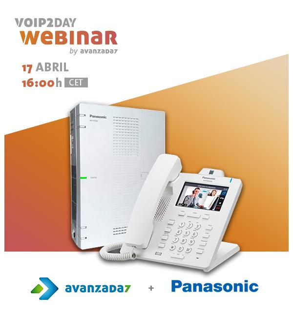 Imagen: O Advanced 7 organiza ou aproxima o webinar na unidade de controle híbrida compacta Panasonic KX-HTS32